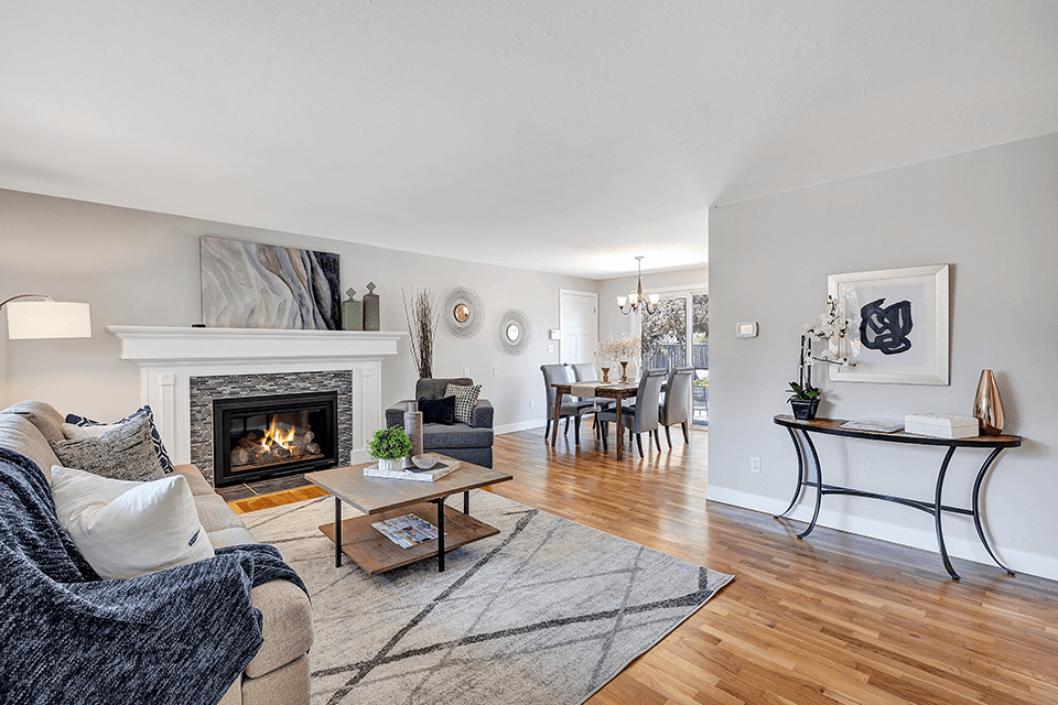 The open concept floorplan makes the home feel spacious and bright.