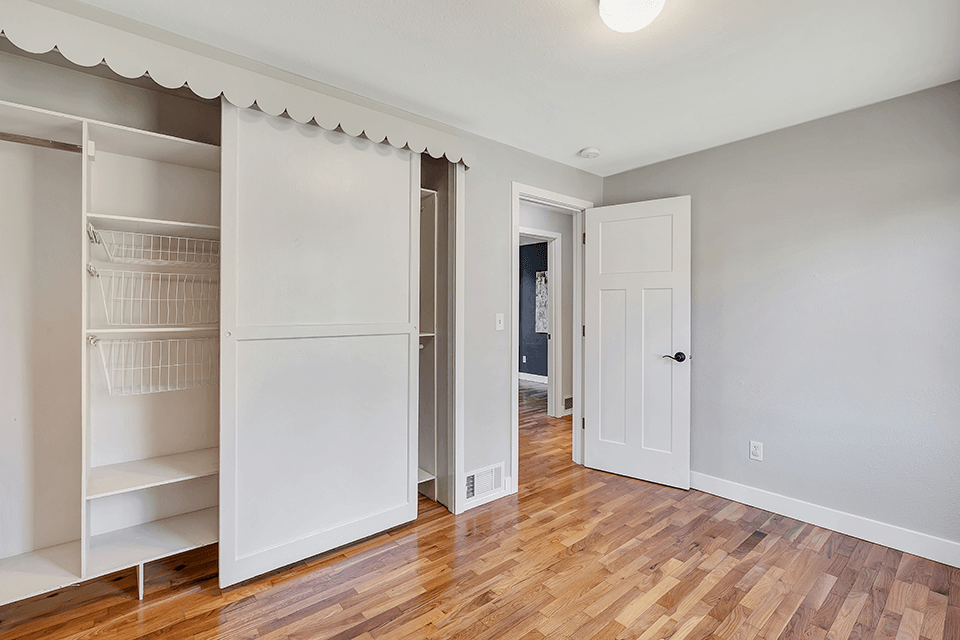 The closets feature handy organizers.