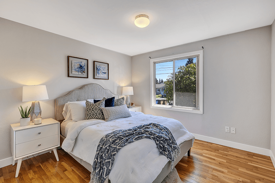 The master bedroom is one of three nice-sized bedrooms on the main with generous closets.