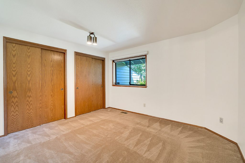 The second bedroom is great for guests or can be used as a den/office. It faces the front entryway and features two large closets.